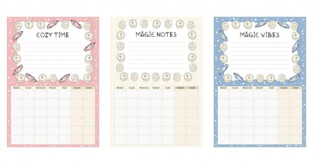 Набор ежемесячных календарей boho с белыми свечами декоративных элементов Premium векторы