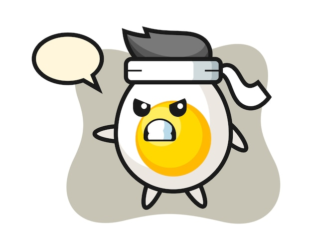 Boiled egg cartoon illustration as a karate fighter Premium Vector