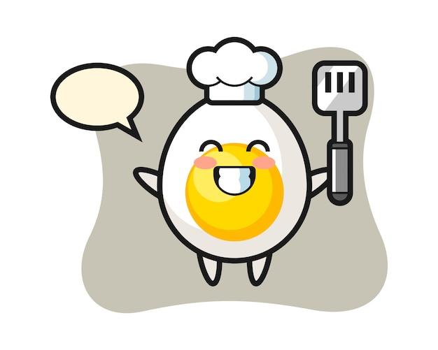 Вареное яйцо персонаж иллюстрация как шеф-повар готовит Premium векторы
