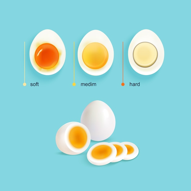 Boiled eggs stages set Free Vector