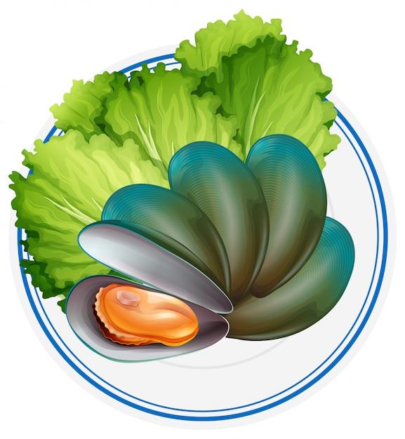 ムール貝と野菜の煮物 無料ベクター