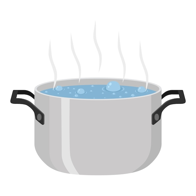 Boiled water for soup in pot Premium Vector