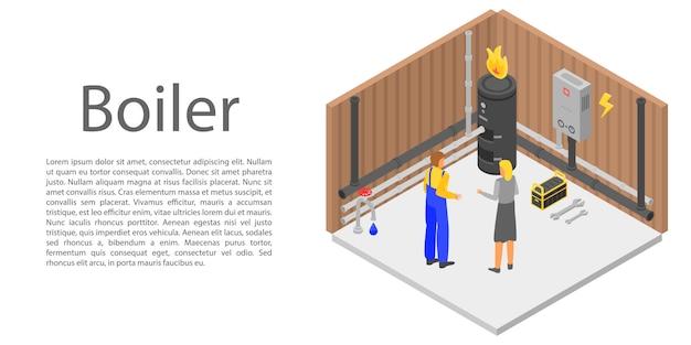 Boiler concept banner, isometric style Premium Vector