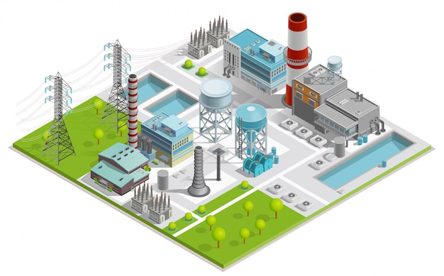 Boiler factory illustration Free Vector