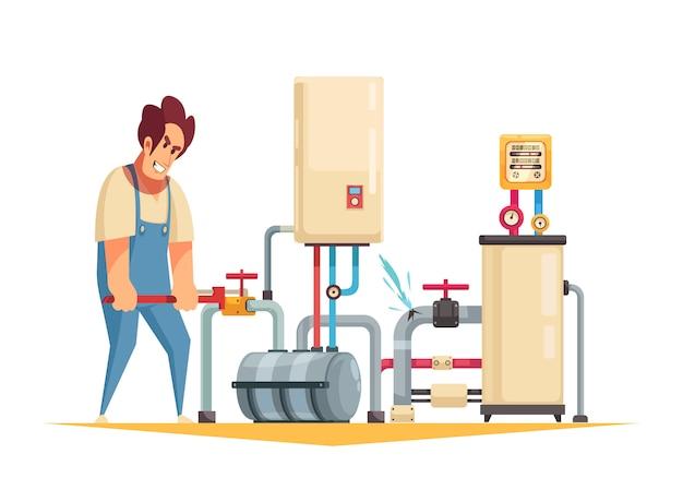Caldaia riparazione idraulico servizio piatto composizione cartone animato con fissaggio tubi di scoppio disattivando la valvola dell'acqua Vettore gratuito