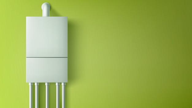 壁にプラスチック製のチューブが付いているボイラー給湯器 無料ベクター