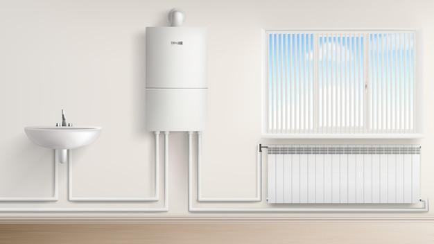 Scaldacqua della caldaia con radiatore e lavabo Vettore gratuito