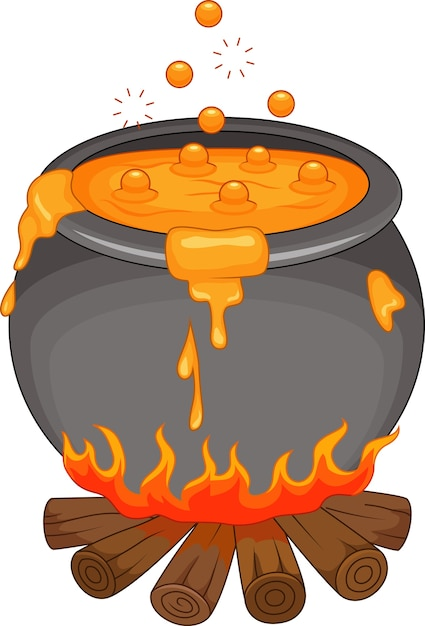 Boiling potion on the fireplace Premium Vector