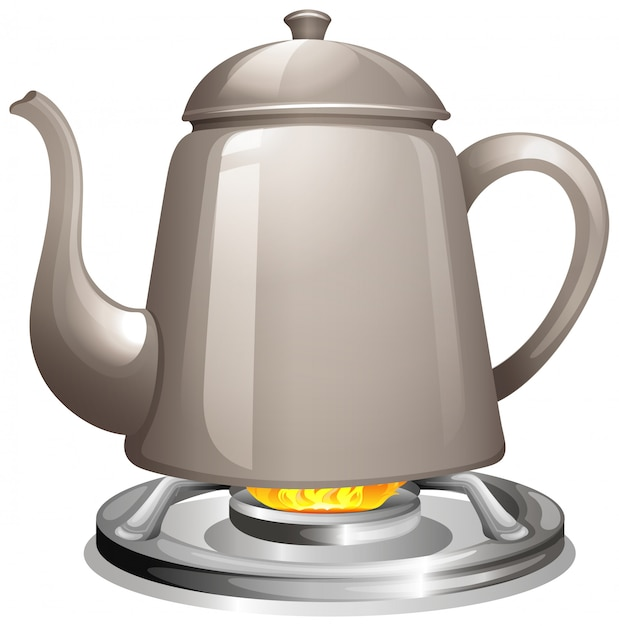 Boiling water on gas stove Free Vector