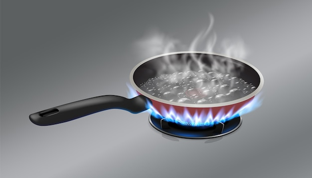 The boiling water in the pan is placed on a gas stove. Premium Vector