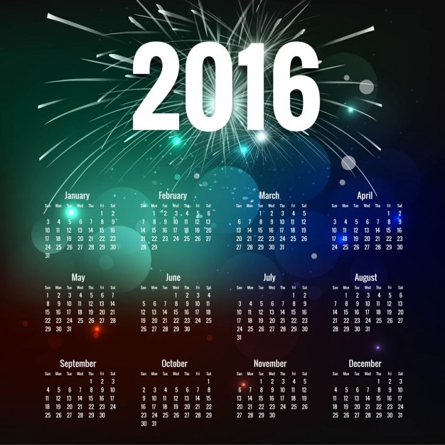 Bokeh 2016 calendar with fireworks Free Vector