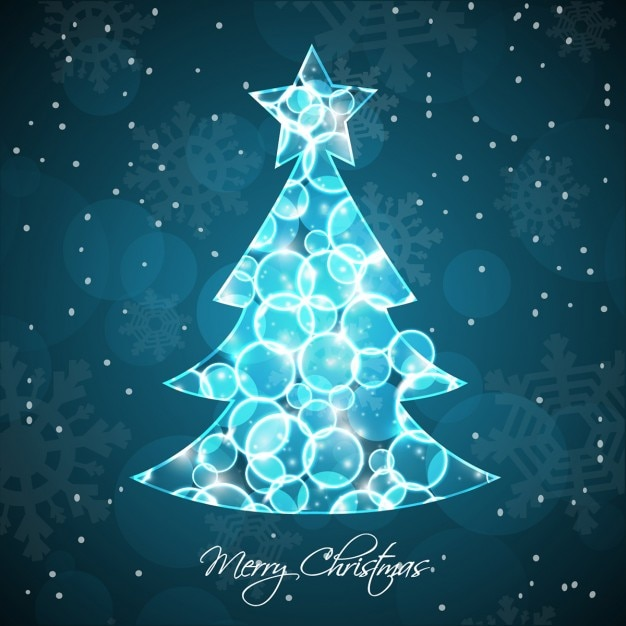 Bokeh background of shiny christmas tree Free Vector