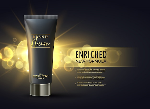 Концепция дизайна упаковки косметического продукта для премиум-бренда в темном золоте bokeh background Бесплатные векторы