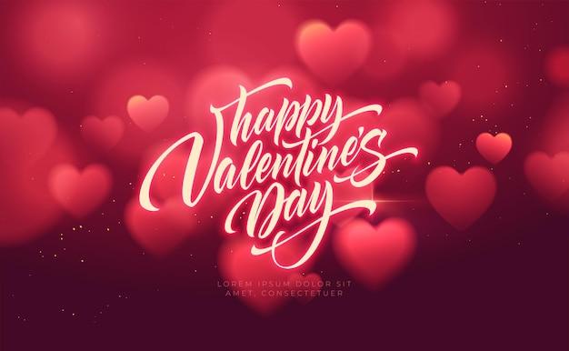 Размытые формы сердца боке блестящие роскошные для поздравлений дня святого валентина. Бесплатные векторы