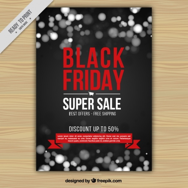 Bokeh brochure of black friday super sales Free Vector