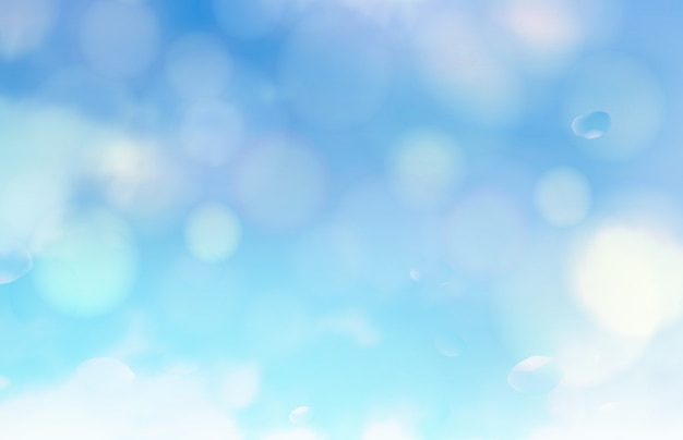 Bokeh bubbles and sun flash over blue background Free Vector
