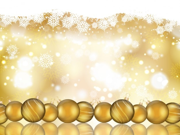 Christmas Background Images Gold.Bokeh Christmas Background With Golden Baubles Vector Free
