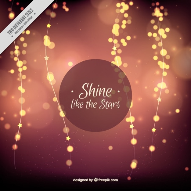 Bokeh effect background with shiny bulbs Free Vector