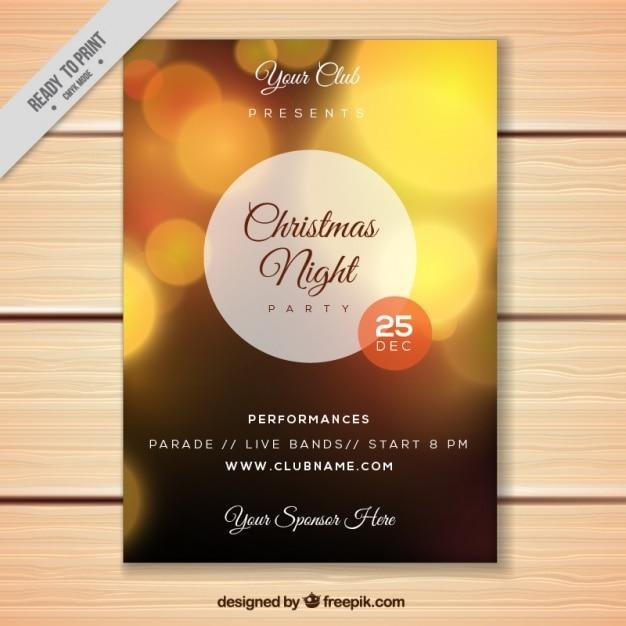 Bokeh golden brochure of christmas party