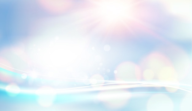 Bokeh and lens flare on light blue sky background. Free Vector