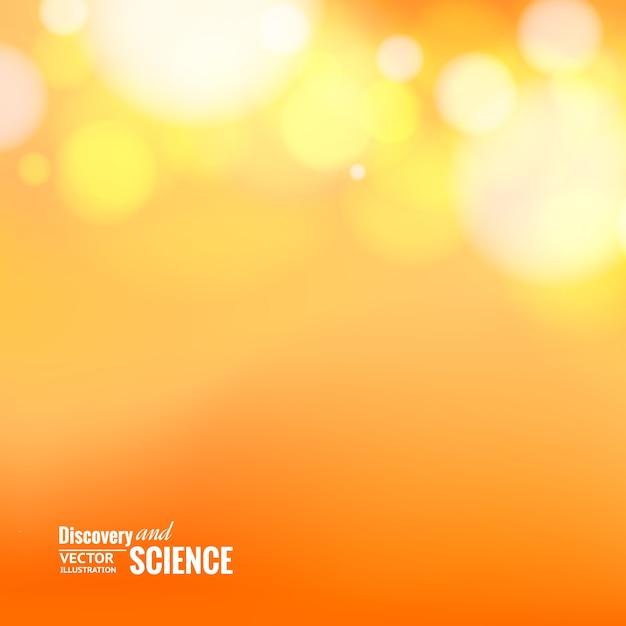 오렌지 배경 위에 bokeh 조명입니다. 무료 벡터