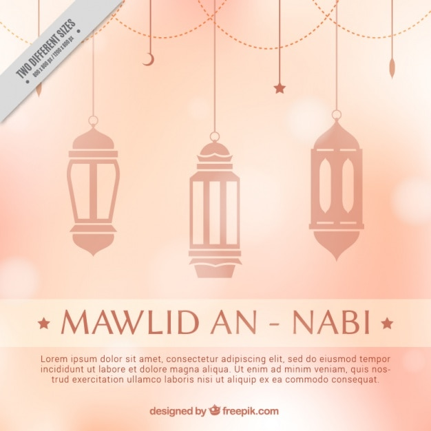 Bokeh mawlid background with lamps hanging Free Vector