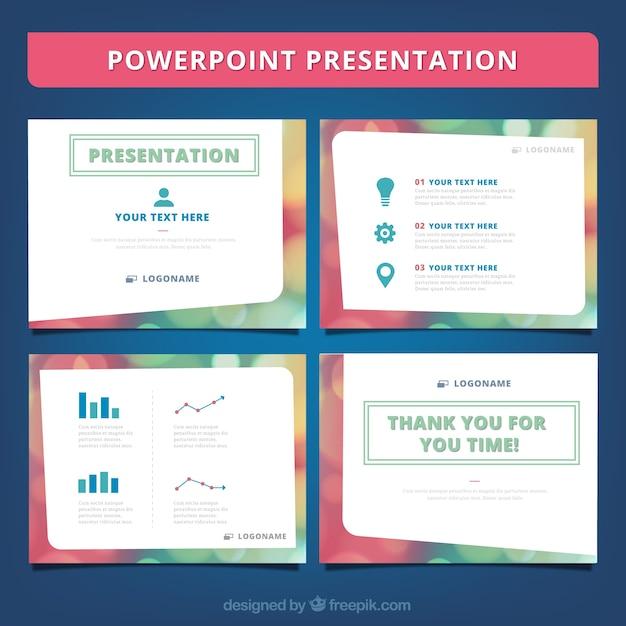 Bokeh powerpoint presentation Premium Vector