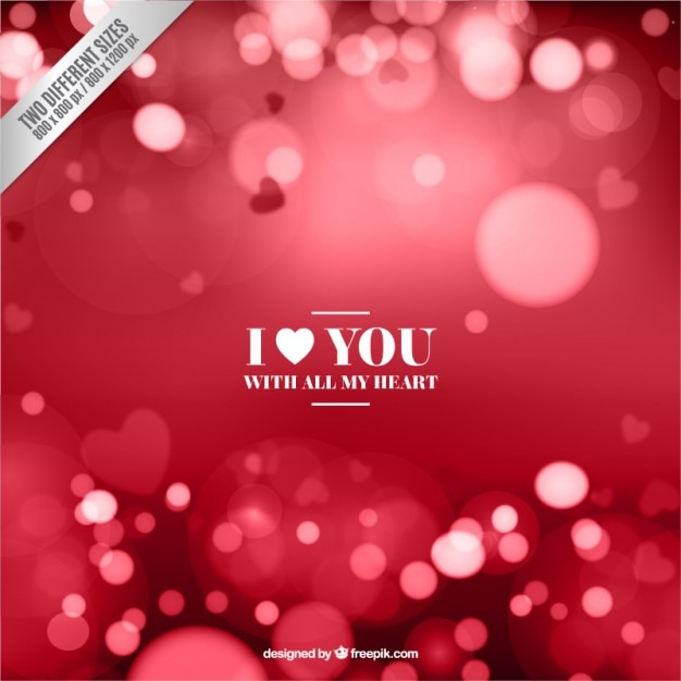 Bokeh valentine background in red color Free Vector