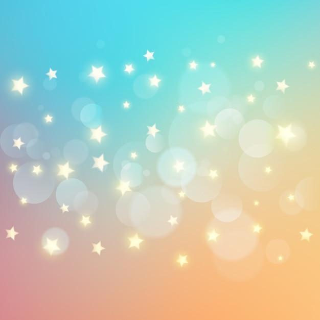 Bokehのライトと星の背景 無料ベクター