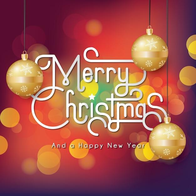 ゴールデンクリスマス装飾ボールでフルメリークリスマスbokehの背景色 Premiumベクター