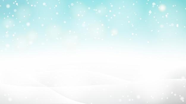 Красивая абстрактная снежная предпосылка bokeh на зима или рождество Premium векторы