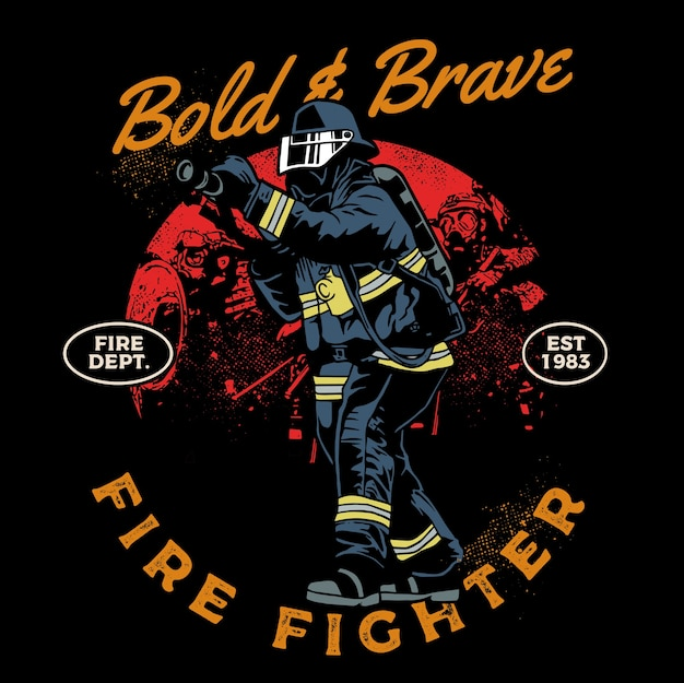 Bold and brave fire fighter in duty Premium Vector