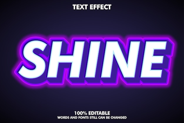 Bold text style with neon light effect Free Vector