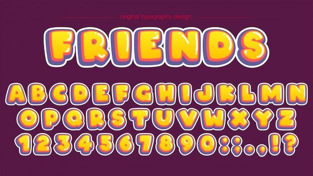 Bold yellow bubble typography design Premium Vector