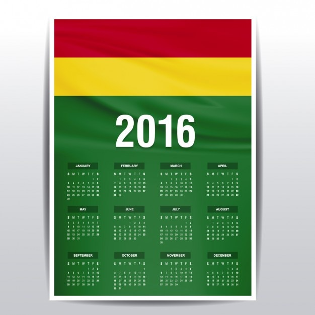 Bolivia calendar of 2016 Free Vector