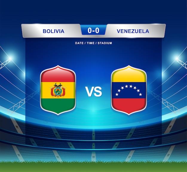 Bolivia vs venezuela scoreboard broadcast football copa america Premium Vector