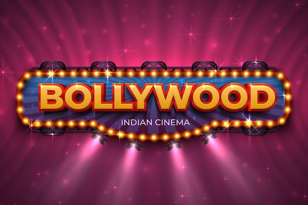 Фон болливуда. плакат индийского кино с текстом и прожектором, сцена индийской кинематографии. афиша фильма болливуда Premium векторы