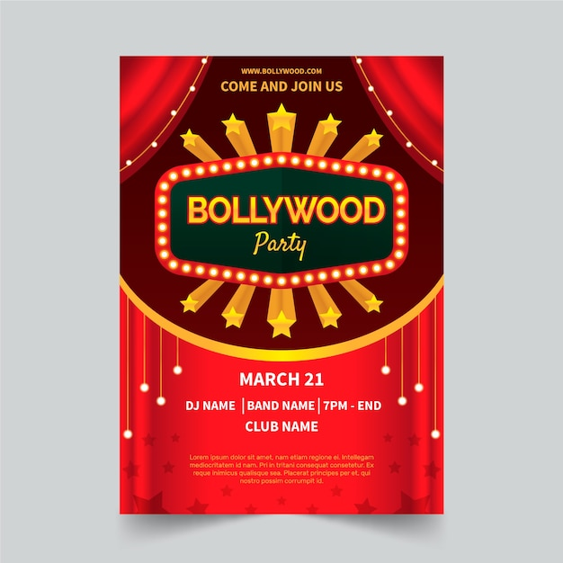 Bollywood party poster concept Free Vector