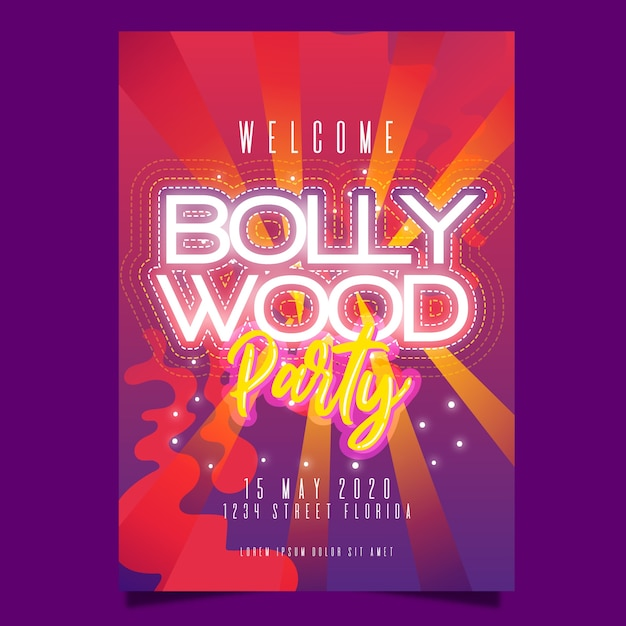 Bollywood party poster design Free Vector