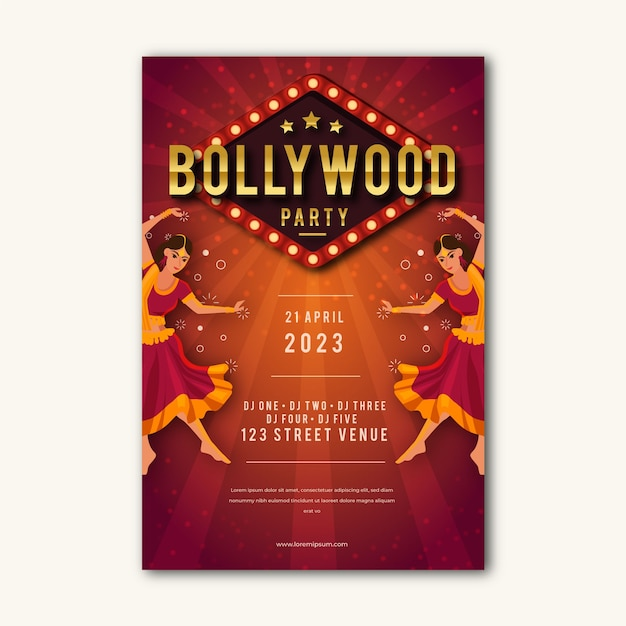 Bollywood party poster style Free Vector