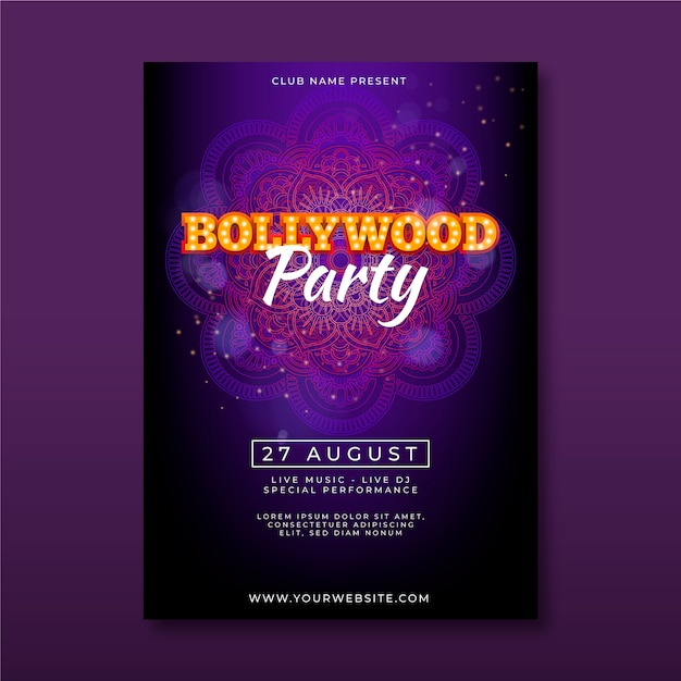 Bollywood party poster template Free Vector