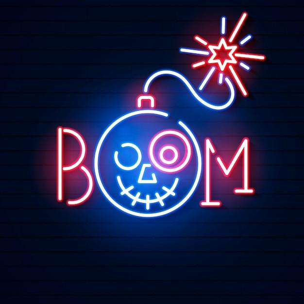 Bomb blue glowing neon icon Premium Vector