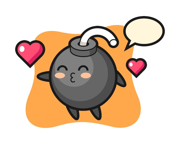 Bomb character cartoon with kissing gesture Premium Vector