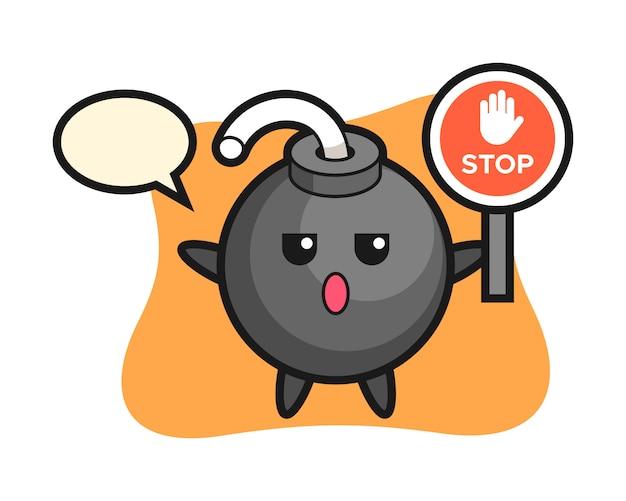 Иллюстрация персонажа бомбы со знаком остановки Premium векторы