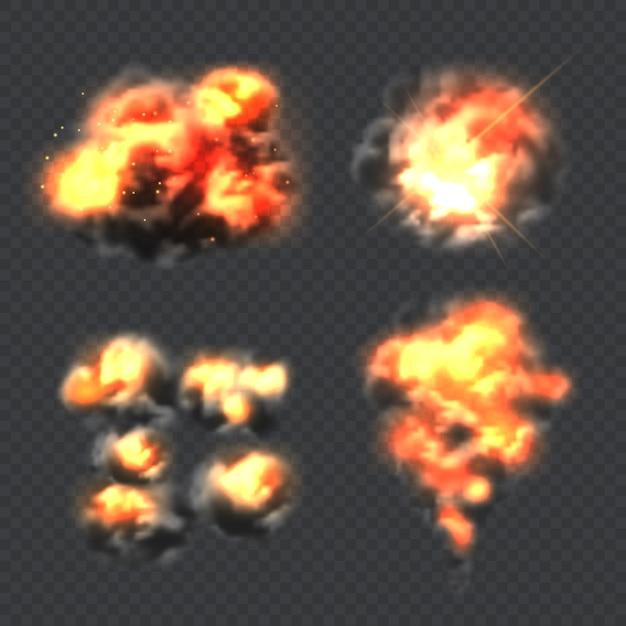 Взрыв бомбы. огонь реалистичный эффект взрыва световой вектор коллекции. иллюстрация огня и пламени, взрыва динамита Premium векторы