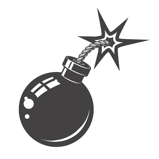 Бомба значок на белом фоне. элементы для логотипа, albel, эмблемы, знака. иллюстрации. Premium векторы