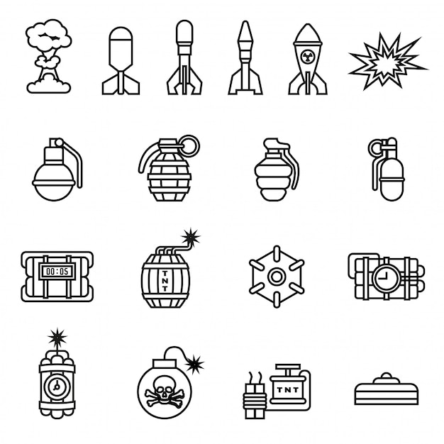 Bomb icons set on white background. line style stock vector. Premium Vector
