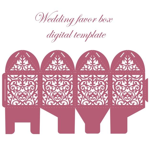 Свадебная коробка. bombonniere candy box шаблон лазерной резки с кружевным рисунком. Premium векторы