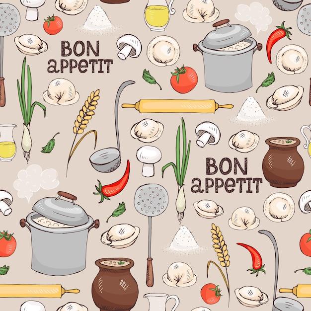 Bon appetit pattern di sfondo senza soluzione di continuità con ingredienti sparsi e utensili da cucina per fare i ravioli italiani in formato quadrato adatto per carta da parati e tessuto Vettore gratuito