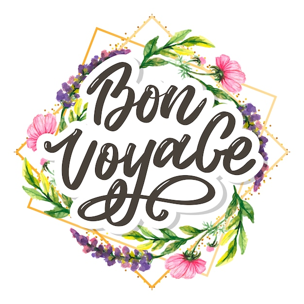 Bon voyage hand lettering  calligraphy travel Premium Vector